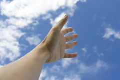 Hands. Outstretched hands reading for the sky. Concept: Asking God for help Stock Photos