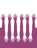 Hands. Silhouettes of hands arranged in series Royalty Free Stock Photography