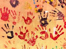 Hands. Hand prints painted on a wall stock illustration