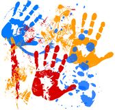 Hands. Paint splatters with silhouettes of hands, illustration Stock Image