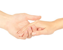 Hands. Shaking hands of two people, man and woman, isolated on white Stock Images