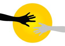Hands. Vector illustration of hands silhouettes over yellow circle background Royalty Free Stock Photography