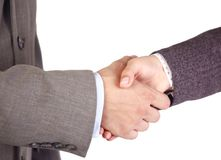 Hands. Two businessmen hands handshake isolated on white Royalty Free Stock Images