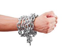 Hands. Men's hands inhibitions chain. Isolated on white background. With clipping path included Stock Images