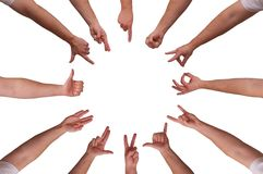 Hands. Showing 12 different gestures Royalty Free Stock Photo