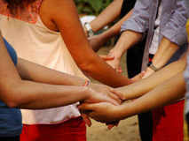 Hands. Many people together holding hands Royalty Free Stock Images