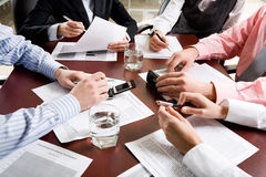 Hands. Image of different hands at business meeting Stock Image