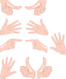 Hands. Diverse hand signs in vector. Color as you wish Royalty Free Stock Photography