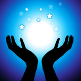 Hands. Couple of hands catching on stars royalty free illustration