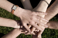 Hands. Joined hands of men and women Royalty Free Stock Images