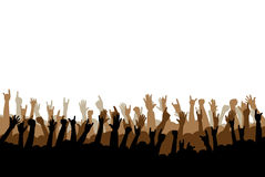 Hands. Concert or party hands raised up Stock Photos
