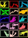 Hands. Silhouette of hands on black background vector illustration