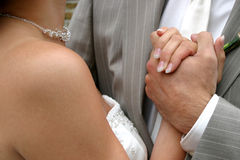 Hands. The hands of a marriage couple Stock Photo