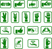 Hands. Various hand icons stock illustration