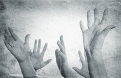 Hands. Special paper texture ,toned and grunge f/x royalty free stock photo
