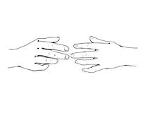 Hands. Drawing of two hands almost touching royalty free illustration