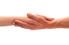 Hands. Man's hand which holds a female hand Royalty Free Stock Photo