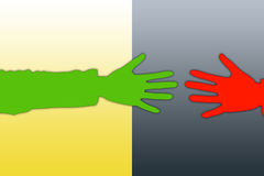 Hands. The hands stretched to each other from the various parties Royalty Free Stock Photo