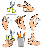Hands. Vector illustration. Useful for the instruction how to create sth Stock Photo