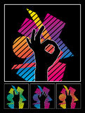 Hands. Black Hands On Colored Background Royalty Free Stock Images