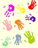 Hands. Vector illustration of colorful hands Royalty Free Stock Photo
