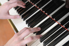 Hands above keys of the piano Stock Image