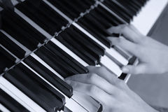 Hands above keys of the piano. Monochrome tone Royalty Free Stock Photos