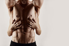 Hands and abs. Female's hands holding muscular torso on white Royalty Free Stock Photo