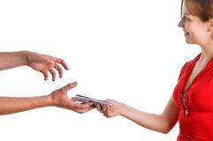 Hands accepting the money Stock Photo