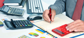 Hands of accountant man. Hands of accountant business man with calculator. Accounting royalty free stock photo