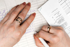 The hands of accountants Stock Photo