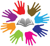 Hands and book. Illustration art of a hands and book logo with isolated background Royalty Free Stock Photography