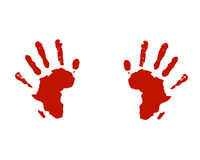 Hands of africa help social. Vector illustration of hand prints with africa map silhouette as commercial for benefit use towards african people, to help and move Stock Photos