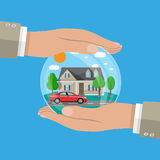 Hands of agent, protect house and car Stock Photo