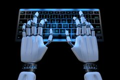 Hands of ai robot typing on keypad. Robotic cyborg hand using keyboard computer. 3d render realistic illustration. Top view stock illustration