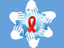Hands on AIDS symbol Royalty Free Stock Photo