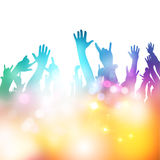 Hands in The Air. Fans at a concert. Vector illustration Stock Photo