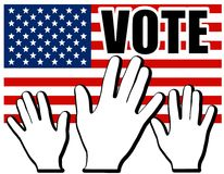 Hands of America US Vote Flag stock photos