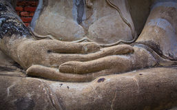 Hands of ancient buddha statue Royalty Free Stock Photos