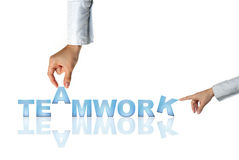 Hands And Word Teamwork Stock Photo