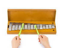 Hands And Xylophone Royalty Free Stock Photos
