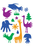 Hands-animals. Illustration humorous animal United with hands silhouette Stock Photo