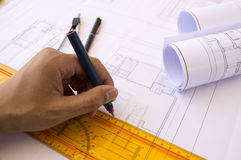 Hands of an architect Stock Photography