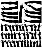 Hands and arms. Collection of editable vector arm and hand outlines Royalty Free Stock Photos