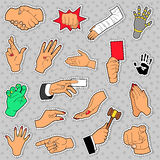 Hands and Arms Set with Different Signs. For Scrapbook, Prints and Stickers. Vector doodle Royalty Free Stock Images