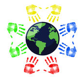 Hands around the Earth illustration Stock Image