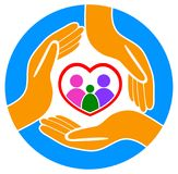 Hands around the family logo Royalty Free Stock Photo