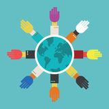 Hands around the globe. Royalty Free Stock Image