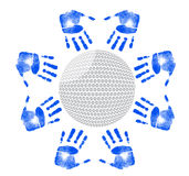 Hands around a golf ball illustration design Royalty Free Stock Images