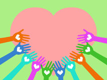 Hands around heart Stock Photography